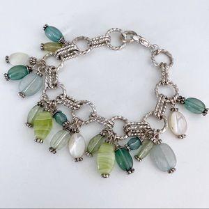🎉5/20 SALE🎉 silver & green stone charm bracelet